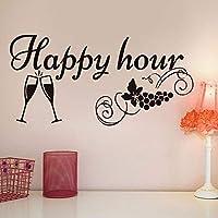 Faaddd キッチン黒板デカールハッピーアワーグレープワイングラスの装飾黒板取り外し可能な防水ビニールウォールステッカー59センチ×29センチ