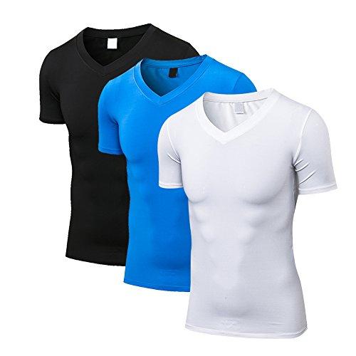 FITIBEST スポーツシャツ メンズ スポーツウェア 着圧 加圧インナー 半袖 加圧シャツ UVカット 吸汗速乾 3点セット コンプレッションウェア アンダーウェア ブラック/ホワイト/グレー/ブルー M/L/XL
