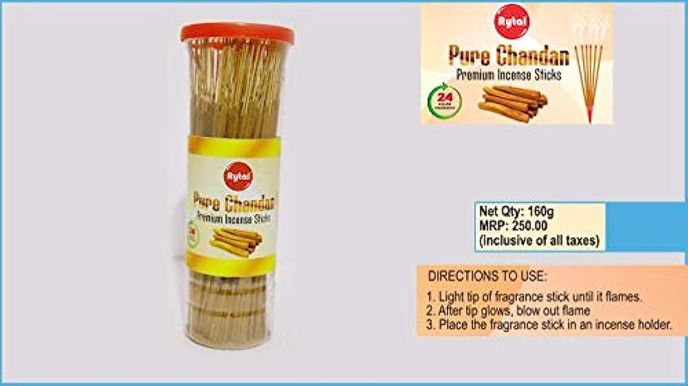 横ガラスに頼るRytal Pure Chandan Premium Incense Sticks(Agarbattis) 160g