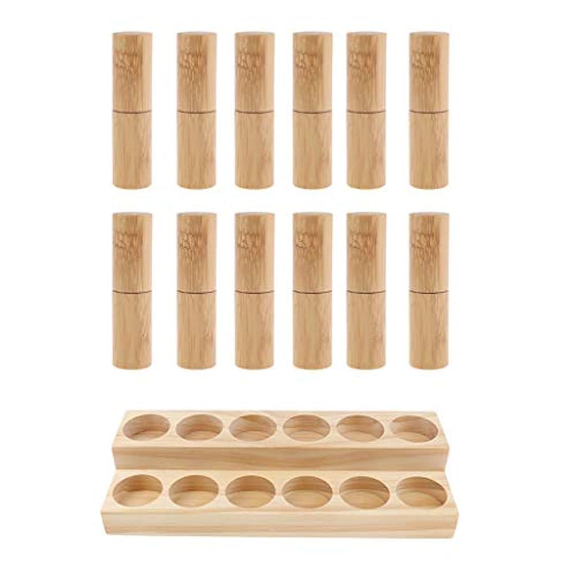 氷クレーター平らにする収納ラック オーガナイザー 木製スタンド エッセンシャルオイル 精油 香水 展示 12個空ボトル付