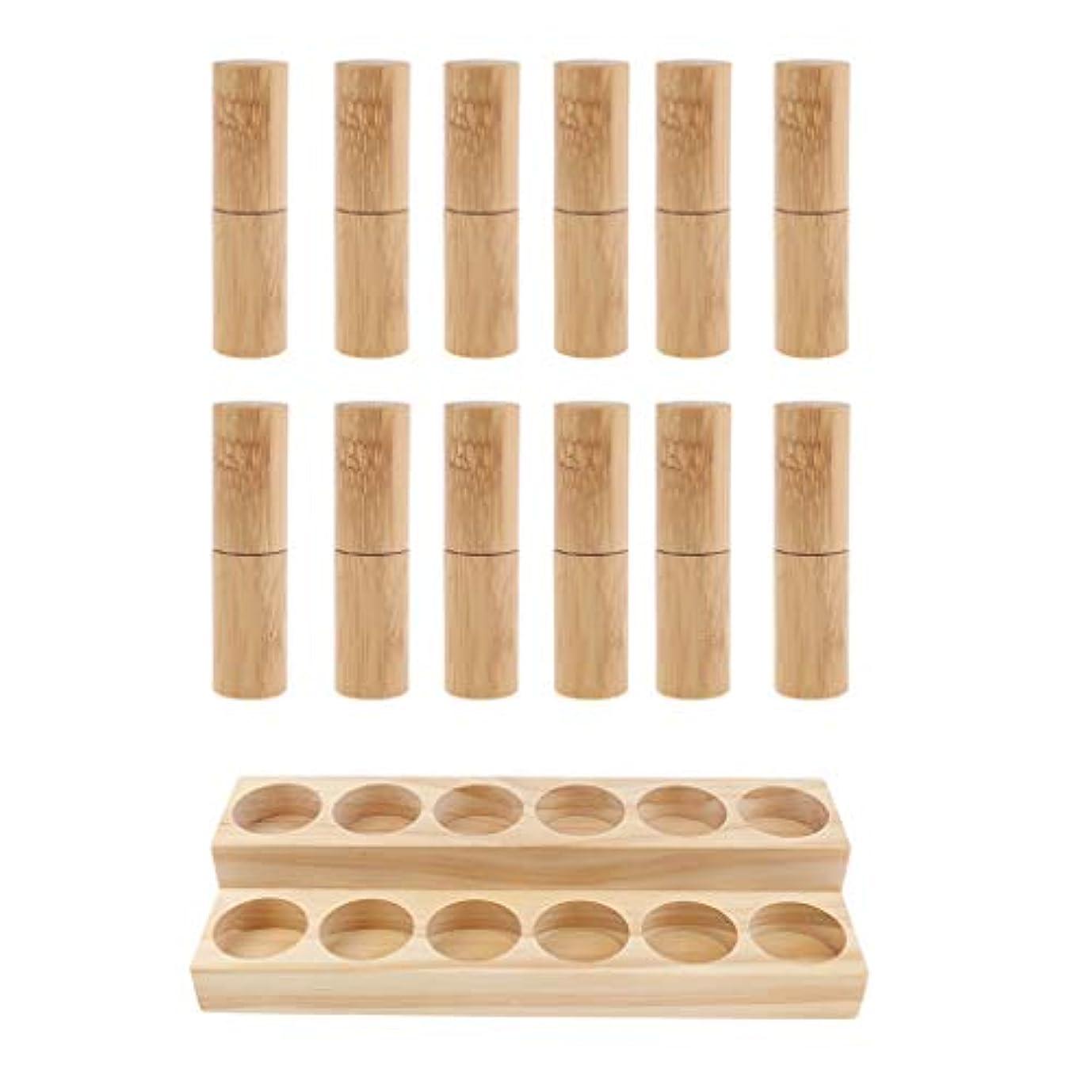 ブルエアコン組み合わせる収納ラック オーガナイザー 木製スタンド エッセンシャルオイル 精油 香水 展示 12個空ボトル付