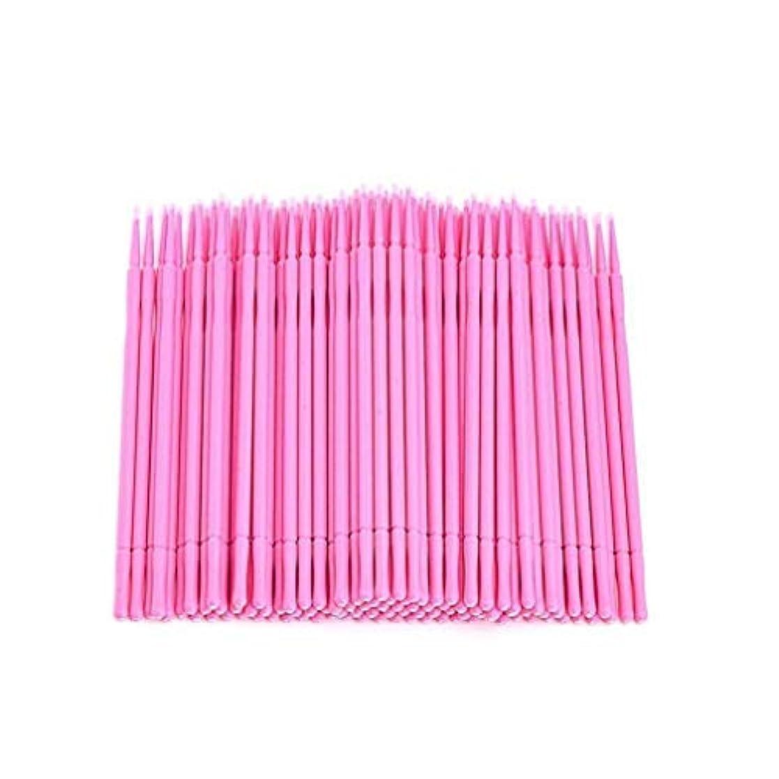 縫うぐったり非アクティブ100本入り マイクブラシ 極細綿棒 睫毛育毛剤用ツール 高繊維製 化粧道具 極細綿棒 まつげブラシ マスカラブラシ 使い捨て 化粧筆 化粧ブラシ 携帯用 便利 (ピンク)