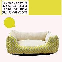 正方形のペットベッド、縞模様の骨小さな折りたたみ式ソフトコンフォート四季の普遍的な猫のトイレ砂 (Color : Yellow)