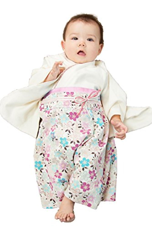 Sweet Mommy 袴 ロンパース ベビー 着物 カバーオール 日本製和柄ちりめん コットン身頃 オフホワイト 50-70