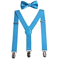 GUCHOL Boys Bowtie and Suspenders Set - Adjustable Length 1 Inches Strengthen for Girls