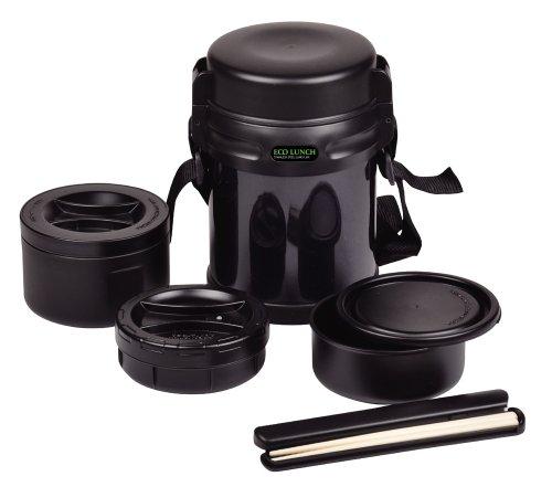 パール金属 保温 弁当箱 茶碗 約 2 杯分 ダブルステンレス ランチジャー 1600 ブラック エコランチ HB-253