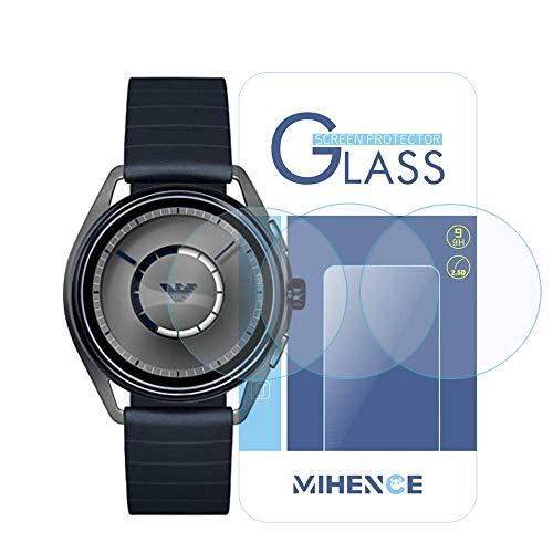 3枚 エンポリオ アルマーニ Emporio Armani Smartwatch 保護フィルム,MIHENCE 9H ガラス保護フィルム 対応 Emporio Armani Touchscreen ART5007 / ART5008 / ART5009 / ART9005 スマート腕時計 2.5Dラウンドエッジ ウォッチ指紋防止保護膜