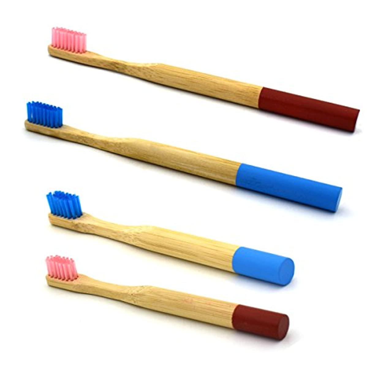 中古ロボット全体にROSENICE 竹の歯ブラシ2つのペアラウンドハンドル自然の竹エコフレンドリーな柔らかい旅行の歯ブラシ(青とピンク) - 大人と子供