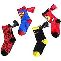 4-6 Years Old Kids Socks Cartoon Superman Spiderman Batman The Flash Design Children Cotton Socks Unisex Boys Girls (Superhero Set 4 pairs)