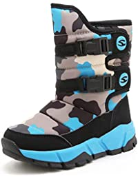 HOBIBEAR スノーブーツ キッズ ジュニア ウインターブーツ スノーシューズ 防寒靴 雪靴 冬用