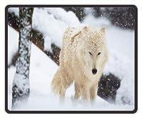 ゲームマウスパッド白い狼の子犬の雪のパターンのマウスパッド