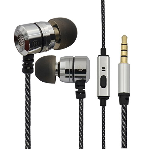 AWEI カナル型 密閉型 イヤホン 高音質 マイク 通話可能 重低音 インナーイヤー型 高遮音性 イヤホン iPhone/iPad/sony/Android スマートフォン対応 ステレオ ヘッドホン MR-020 Silver
