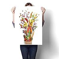 キャンバスウォールアート 寝室 家の装飾 食べ物 背景 スタジオ写真 果物と野菜の絵 ホームデコレーション (フレームなし) 32 x 56inch(80x140cm)/1pc