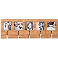 ウォールハンガー 複数の写真フレーム複数の回転可能な金属製フック無垢材(天然木色3サイズ) TINGTING (サイズ さいず : 61.2*20.3cm)