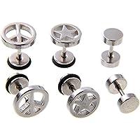 ピース & スター & バーベル チタン ピアス 3種 セット レディース メンズ 両耳用 医療用 銀 シルバー sillver