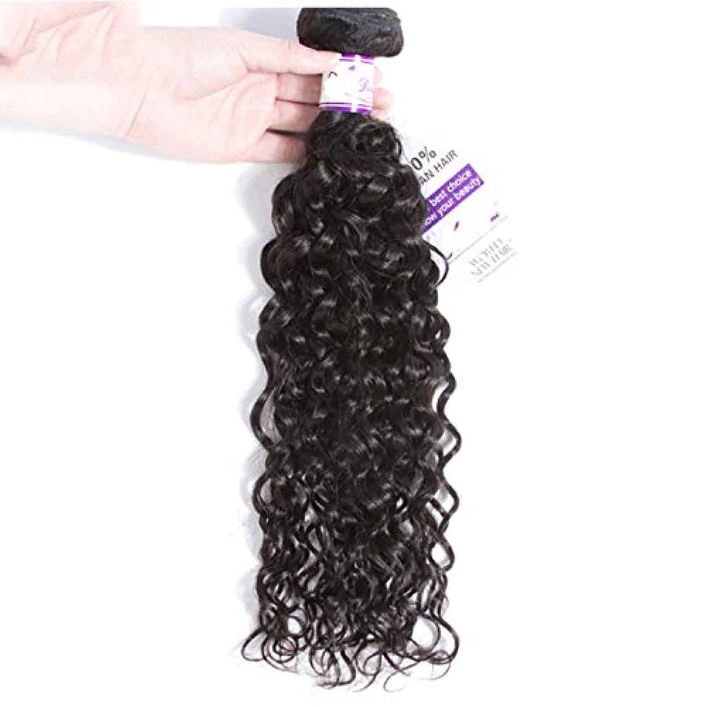 国旗司令官梨ペルーの水の波束100%人間の髪の毛の織り方ナチュラルカラー非レミーの毛延長8-28インチ (Stretched Length : 28inches)