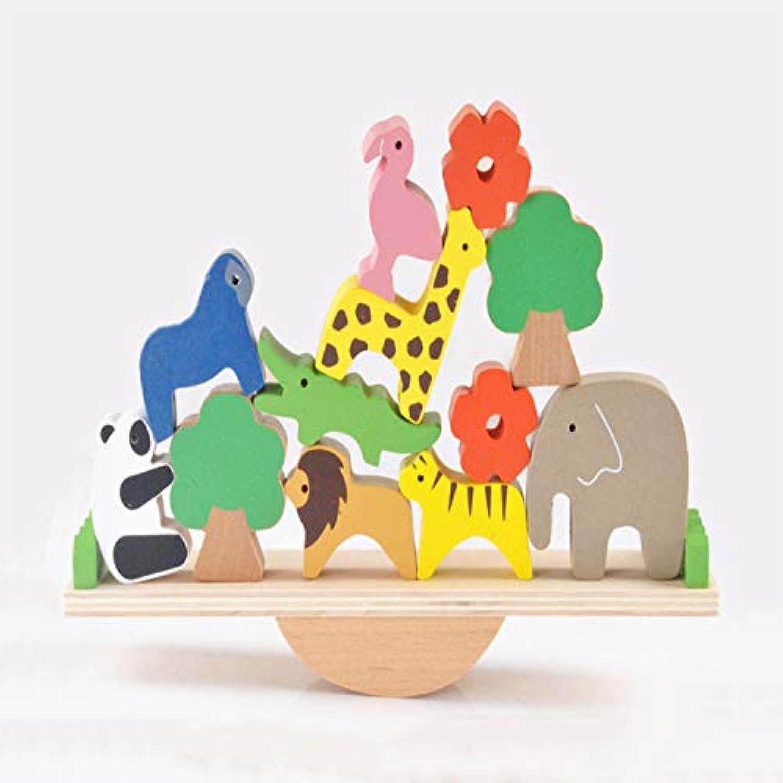 木製の森林動物のシーソーバランスビームベイビースタッキング高ビルディングブロックおもちゃ