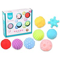 8 Pcs Baby Hand Catch Massage Ball With Sound Effect Infant Grasping Training Early Learning Education Grip Ball For kids/Newborn