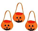 かぼちゃバケツ お菓子も沢山入る 可愛いパンプキンポーチ 3個セット ハロウィン 小物