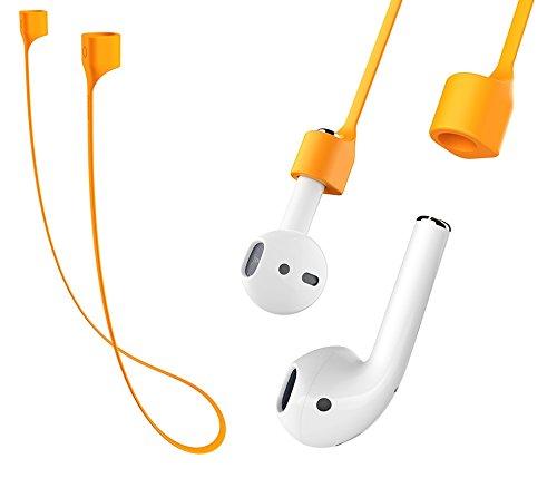 Airpods用 落下防止 シリコンストラップ マグネット付き オレンジ apple アップル airpod air pods pod