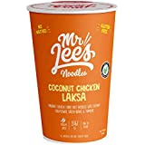 Mr Lee's Instant Cup Noodles, Made in Australia, The Finest Freeze-Dried Ingredients, Gluten Free, Medium Spice, Air-Dried Rice Noodles, Coconut Chicken Laksa Curry Flavour. Bulk Box of 8 x 65g