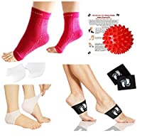 New Plantar Fasciitis 4-in-1 Pain Relief & Recovery Kit - Foot Compression Sleeve,Copper Arch Compression Brace,Heel Protectors,Foot Massage Ball for Foot Pain Relief [並行輸入品]