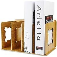 miidoo 卓上本棚 本立て ブックスタンド 木製 組み簡単 卓上収納 雑誌/新聞/書類入 (ベージュ)