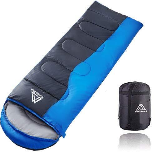 寝袋 封筒型 軽量 sleepingbag アウトドア 登山 車中泊 丸洗い 夏用 冬用 収納袋付き A (A/Blue 1.8kg Right)