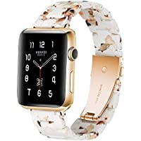 Resin Watchband for Apple Watch Band 38mm 40mm 42mm 44mm, Lightweight Replacement Strap for iWatch Apple Watch Series 4 3 2 1 All Models,Nougat,42/44MM