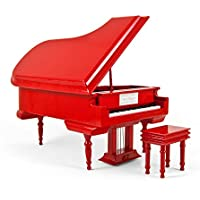 Sophisticated 18 Note Miniature MusicalグラマーハイグロスクリアコートエアゾールFireエンジンレッドGrand Piano with Bench 19. American Dream, The MBA-MS-MPY02-RED-grandpiano