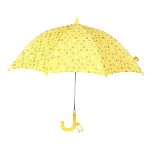 Obolts 子供傘 キッズ傘 安全手開き傘 かわいいウサギ 手開き式の長傘 イエロー