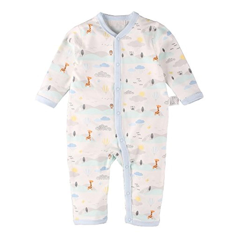 Baby Nest ベビー服 ロンパース カバーオール 前開き 男の子 長袖 野球帽柄 青い雲 18-24M