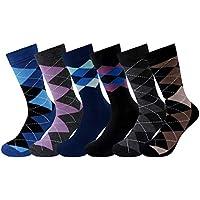 Lorfancy 6pcs Men's Dress Socks Cotton Argyle Striped Solid Ribbed Business Formal Crew Socks Men Patterned Dress Socks