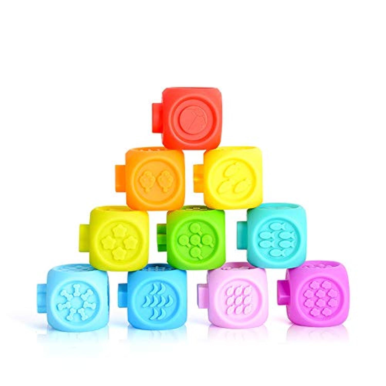 RaiFu 積み木 ビルディングブロック 赤ちゃん つまみのおもちゃ 3D タッチハンド 柔らかい ベビー ゴム製 おしゃぶりおもちゃ 10個/セット