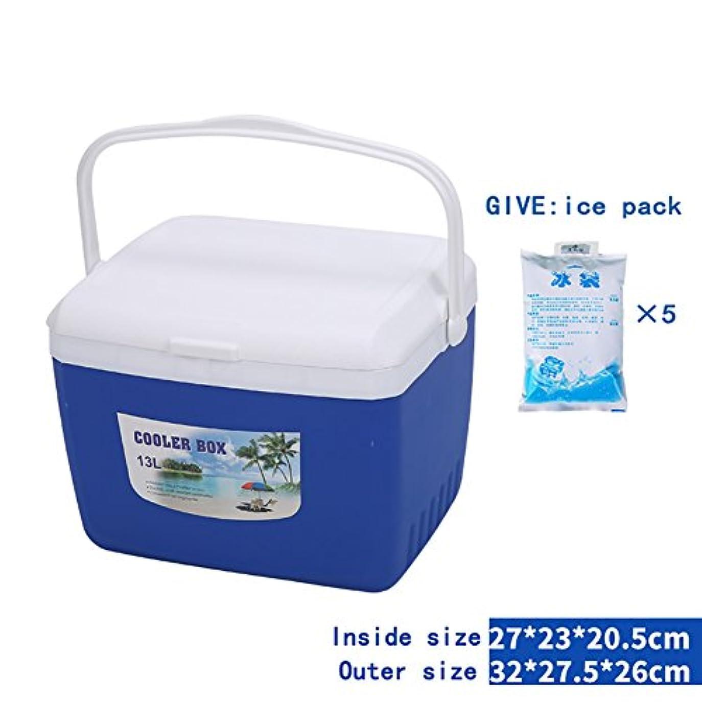 閉じる遡るビジョン二重目的のクーラーバッグ断熱缶/ボックス屋外用ポータブル釣りピクニックピクニック鮮度保持氷バケツ車ボルンアイスパック ( 色 : 青 , サイズ さいず : 13L )