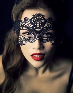 黒いレースの透かし彫り マスケラ マスク コスチューム用小物 フリーサイズ