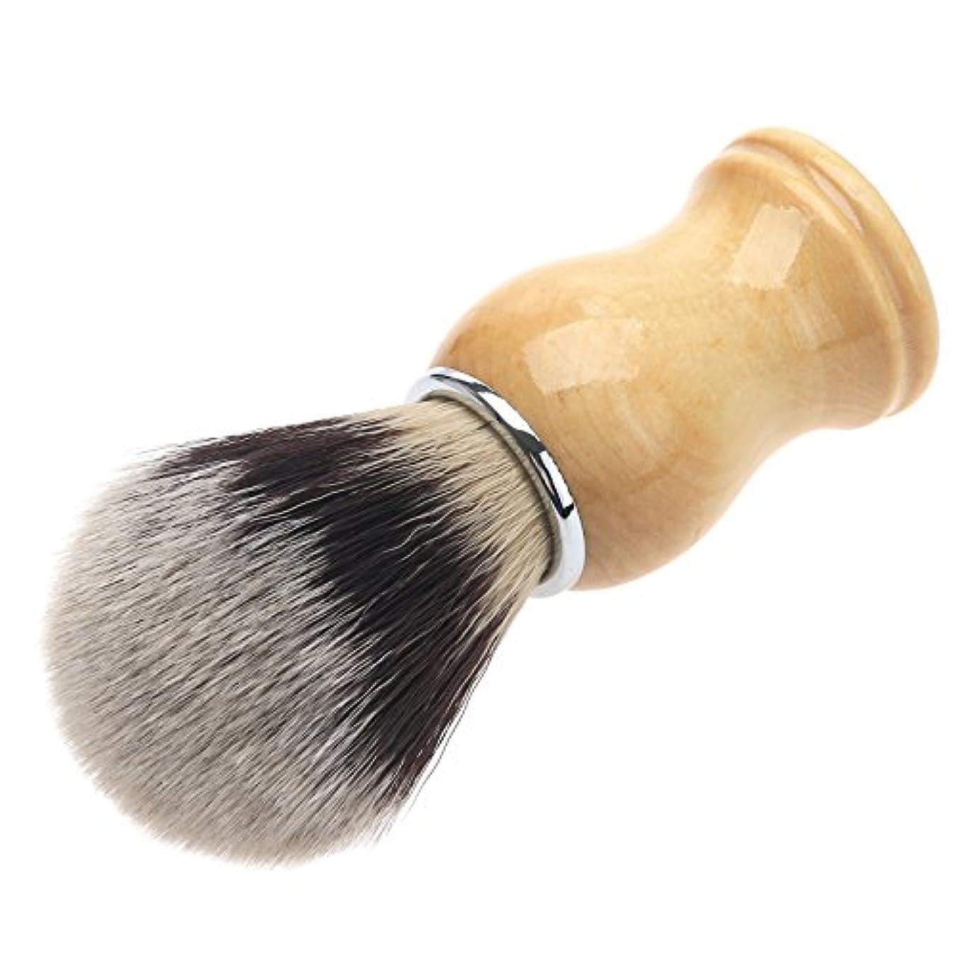 シミュレートする殺す操作可能メンズ用 髭剃り ブラシ シェービングブラシ 木製ハンドル 男性 ギフト理容 洗顔 髭剃り