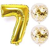 お誕生日パーティー 風船 飾り付け バルーンx2 数字(7)バルーン ゴールドx1 風船セット(QQ-007)