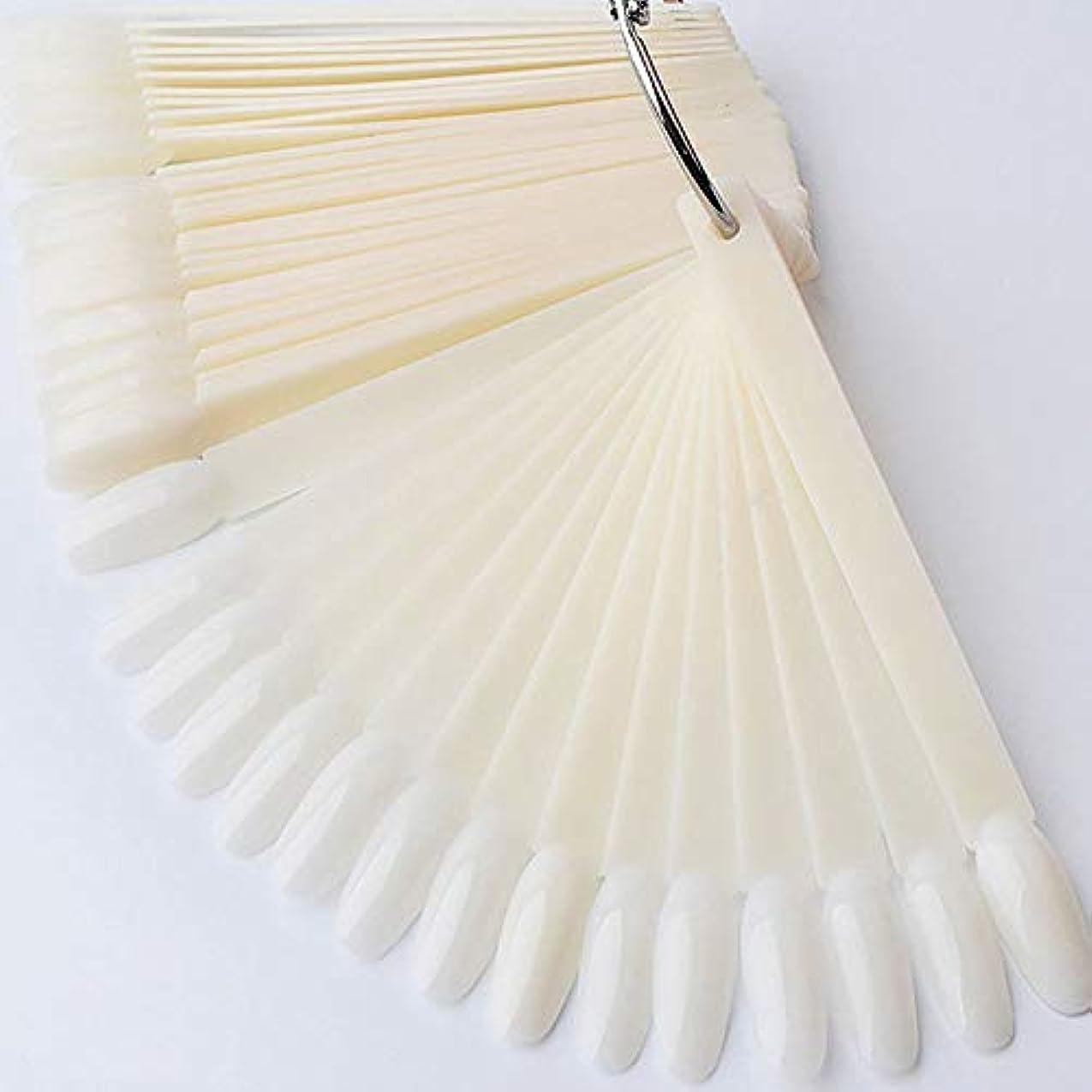 浸す国籍思いやりのあるネイルチップ スティック ネイル用品 練習用 50枚 (アイボリー)