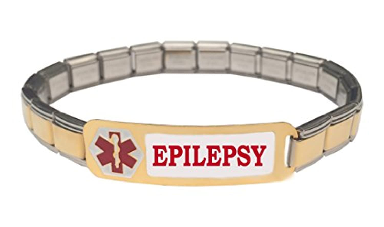 Epilepsy Epileptic医療アラートステンレススチール9 mmイタリアチャームスターターブレスレット