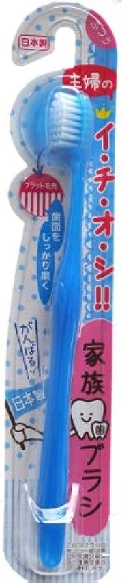 休日にデッドロック協会06-218 家族歯ブラシ フラット毛先 ( ブルー)