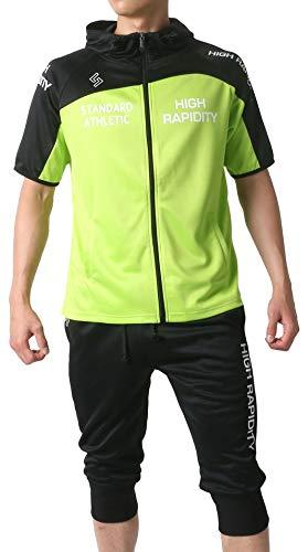 [ソレイルドール] ランニングウェア 上下セット ジャージ 半袖 パーカー ショートパンツ メンズ ライトグリーン L