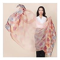 LKYJP レディシルクスカーフ日焼け止めビーチタオルシルクショールスカーフスカーフソフトを印刷します (Color : 01, Size : 175*110cm)