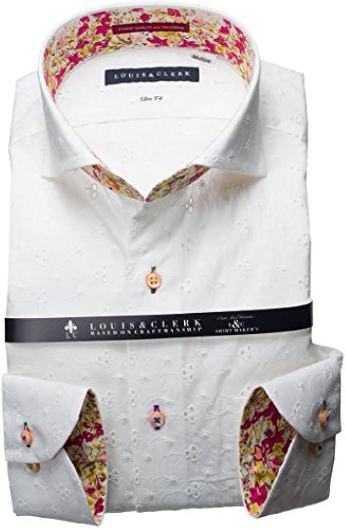 貧困項目終了しましたRHD147-019 (ルイス&クラーク) メンズ長袖ワイシャツ カッタウェイ ワイドカラー | 白