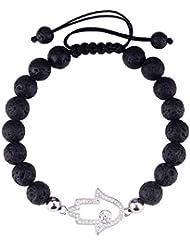 ラバストーンブレスレットストレッチbeads-jeka HealingジュエリーレディースラッキーチャームEssential Oil diffuser-black