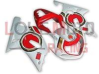 LoveMoto ブルー/イエローフェアリング スズキ suzuki GSX-R600 GSX-R750 2001 2002 2003 01 02 03 ABS射出成型プラスチックオートバイフェアリングセットのキット ホワイト レッド