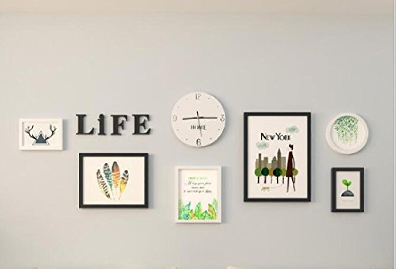 鼻とても多くの斧北欧ミニマリストのリビングルームの装飾写真壁の廊下/玄関/ソファーの背景壁の写真フレームの壁の組み合わせ(6額縁+アクリルLIFEの手紙ウォールステッカー+白い時計) フォトフレーム-11.8