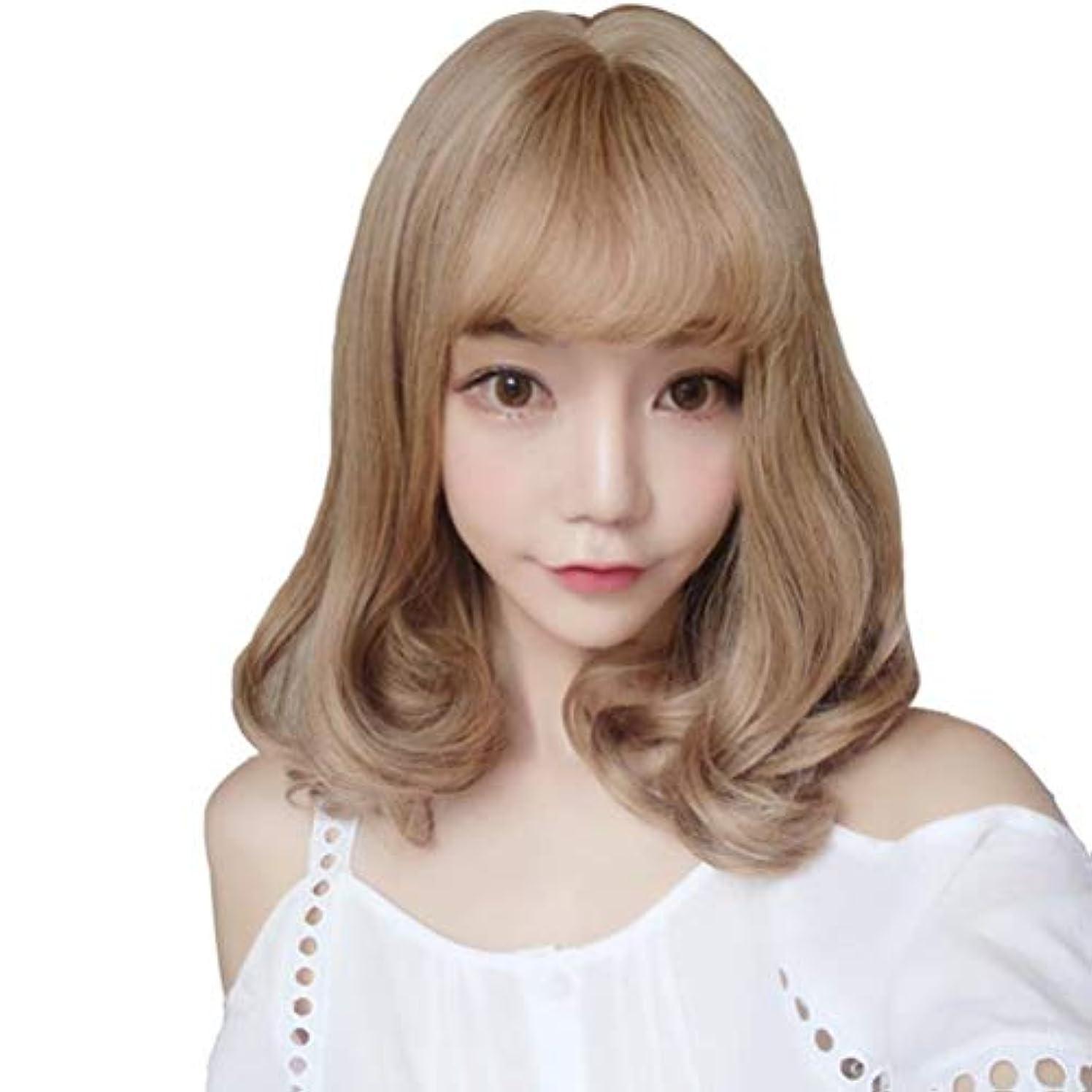 適応する鉛コミュニケーションウィッグリネンブラウンイエロー高温シルクショート巻き毛リアルなヘアスタイル LH2205 (リネンブラウンイエロー)