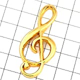 ピンバッジ 音符 ト音記号 ゴールド 金色 ミュージック 音楽 デラックス薄型キャッチ付 ピンズ ピンバッチ