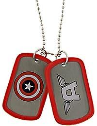 Marvel Comics Captain America Shieldレッドダブル犬タグネックレスペンダント1021